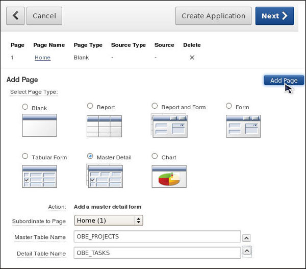 Creating and Running a Database Application Using Oracle Application