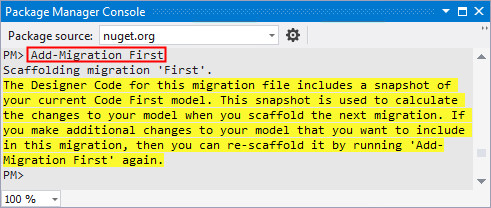 Entity Framework Code First and Code First Migrations for
