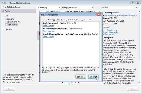 Using NuGet to Install and Configure Oracle Data Provider for  NET
