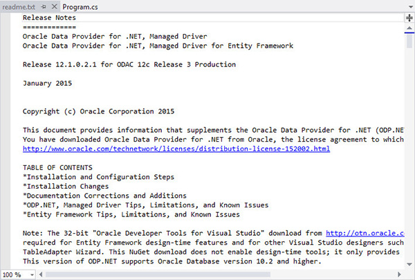Using NuGet to Install and Configure Oracle Data Provider