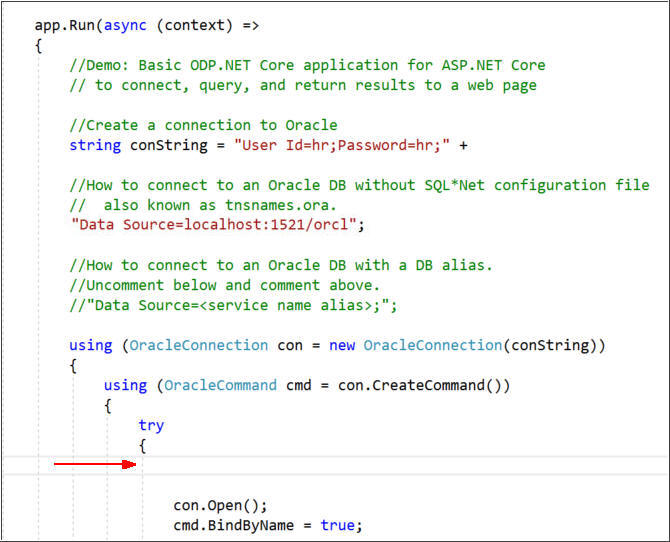 Getting Started with ODP Net Core