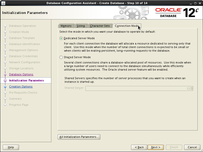 Creating the oracle database release 12c 12 1 0 1 0 for Show parameter pool