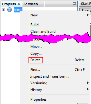 how to delete projects on unity cloud