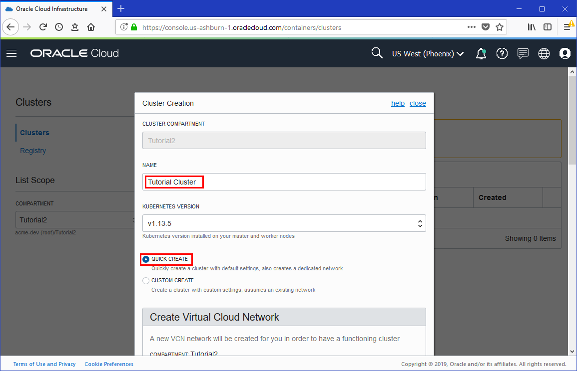 Create a Cluster with Oracle Cloud Infrastructure Container