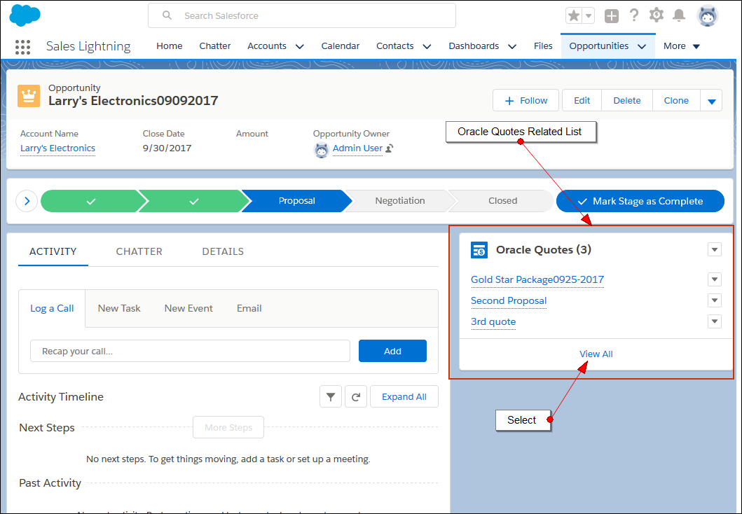 Oracle Adapter for Salesforce Lightning Winter 18