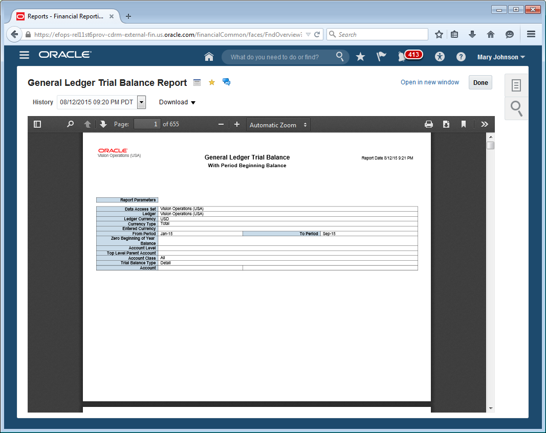 Oracle financials cloud release 11 whats new business intelligence publisher report in report details view baditri Gallery