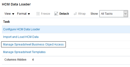 in the hcm data loader functional area for your hcm offering a new setup task manage spreadsheet business object access is provided