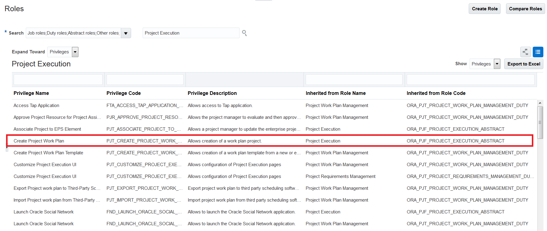 Create Project Work Plan Privilege Allows Users To New Non Financial Projects And The Is Rolled Up Execution Role By Default